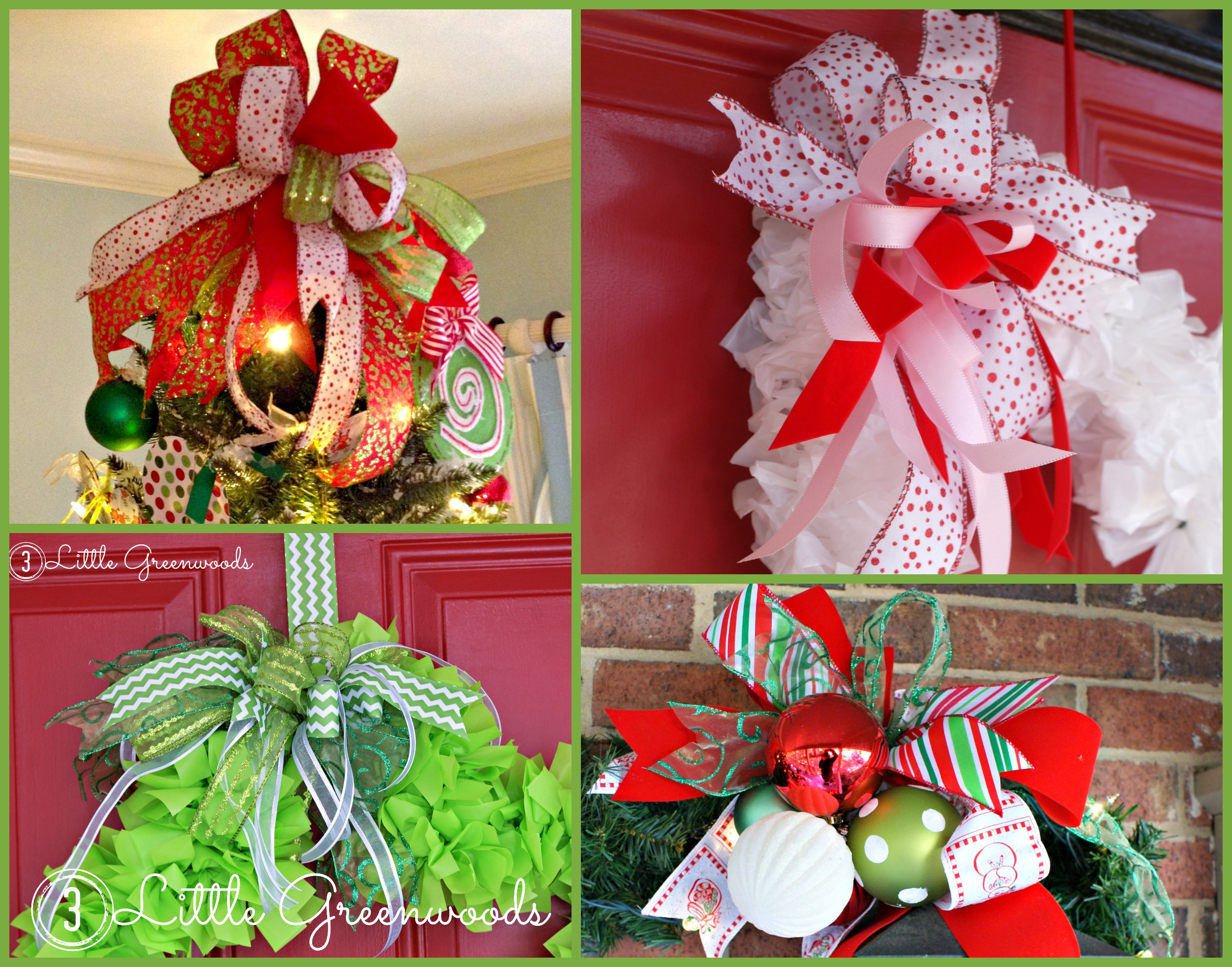 How to make an easy bow for wreaths and door hangers for 3 wreath door decoration