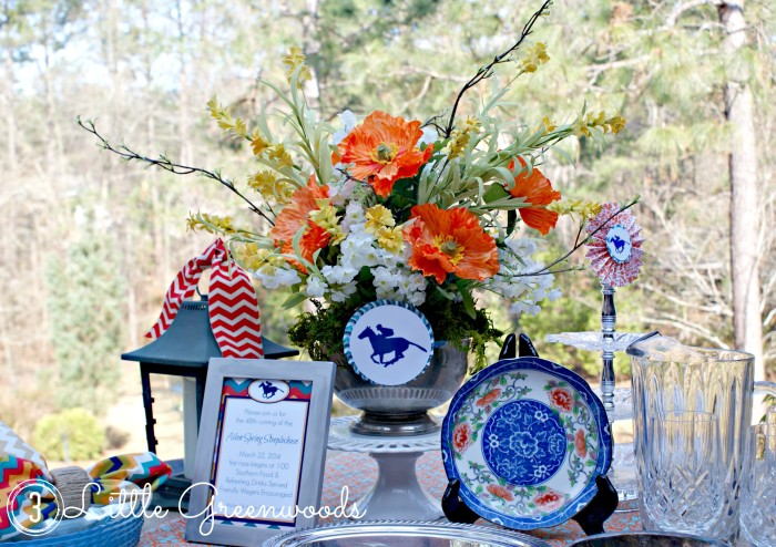 Spring Race Day Tablescape by 3 Little Greenwoods {3littlegreenwoods.com}