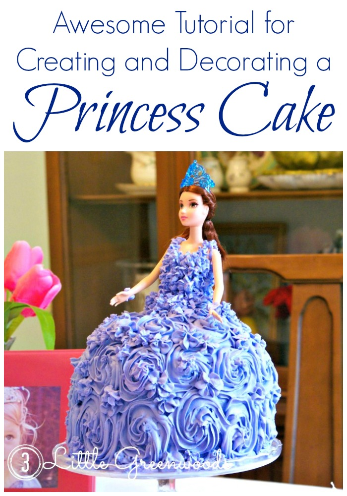 Awesome Tutorial for Creating and Decorating a Princess Cake #DIYCake #DIYPrincessParty #PrincessBirthdayParty