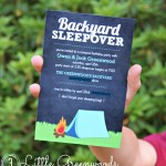 Backyard Campout Birthday Invites with Purple Trail