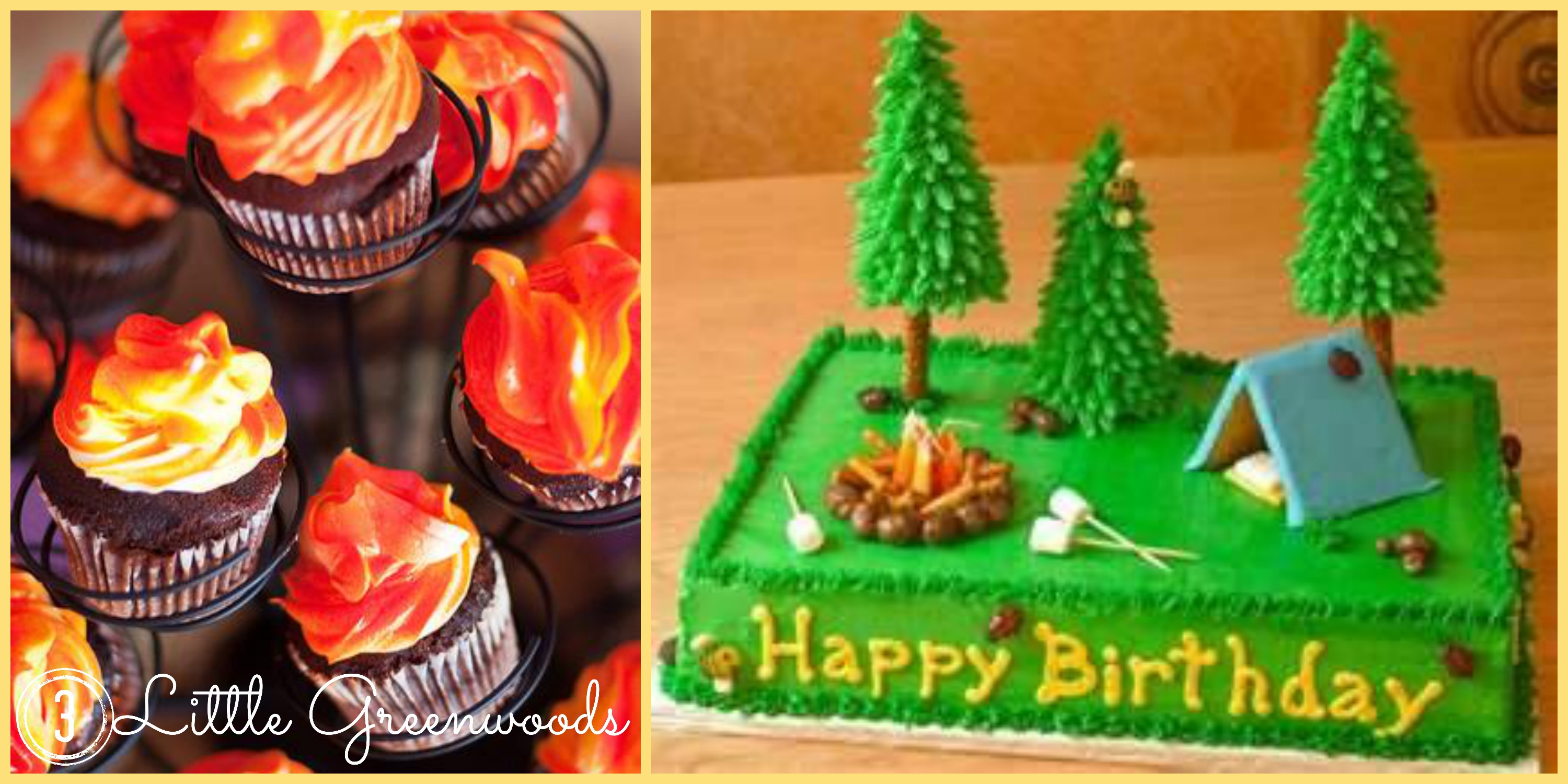 Camp Cakes Collage Fire Cupcakes Glamping Glamorous Camping Party
