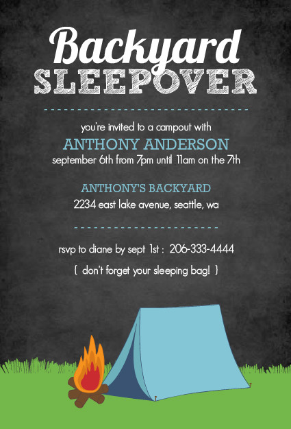 Purple Trail: Black Chalkboard Campout Invitation