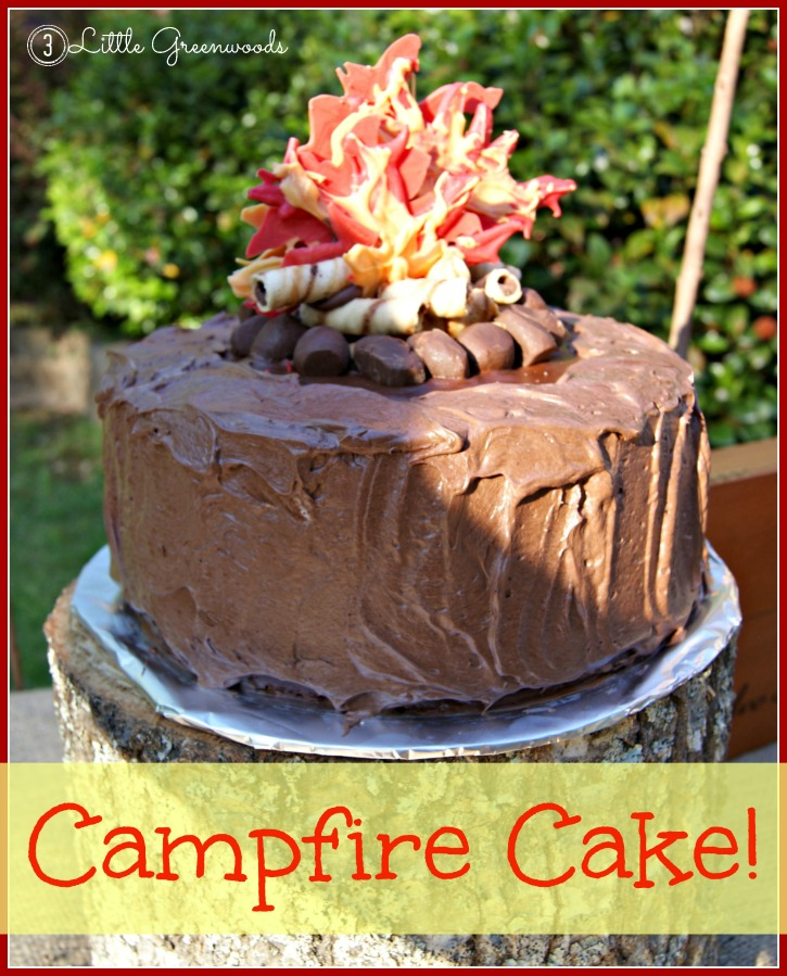 This is the PERFECT birthday cake for my son's Backyard Campout Birthday Party! Great step by step directions for making a Campfire Birthday Cake! Awesome idea for a summer birthday party! // 3 Little Greenwoods
