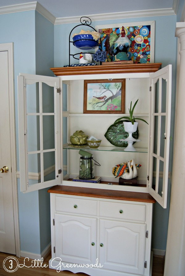 Creamy Kitchen Hutch Makeover by 3 Little Greenwoods