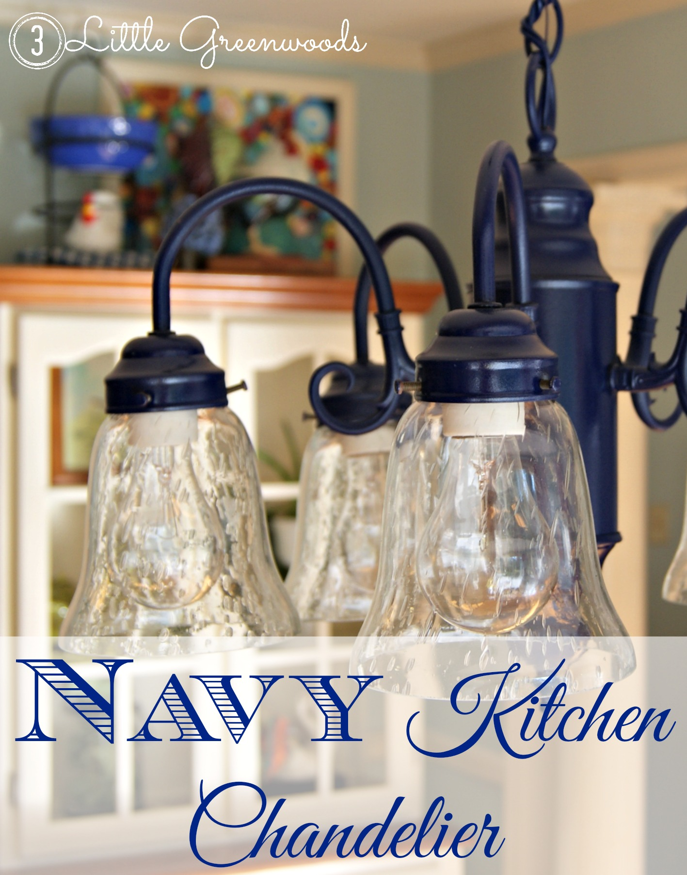 Add a punch of color with this DIY light fixture update! Navy Chandelier https://www.3littlegreenwoods.com