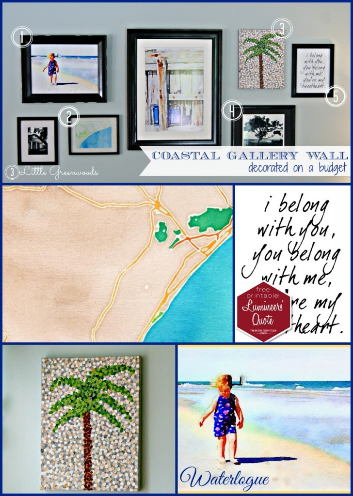 Coastal Gallery Wall ~ All on a Budget by 3 Little Greenwoods