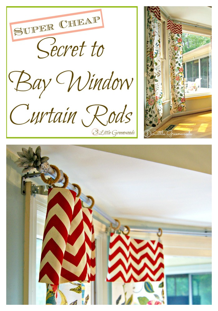 Super CHEAP Secret to DIY Bay Window Curtain Rods from 3 Little Greenwoods #DIYCurtainRod #DIYCurtains