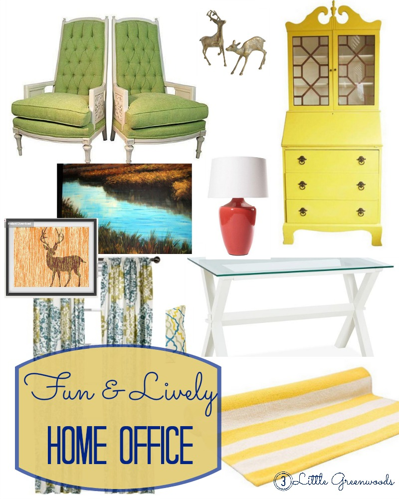 Fun & Lively Home Office with Chairish by 3 Little Greenwoods