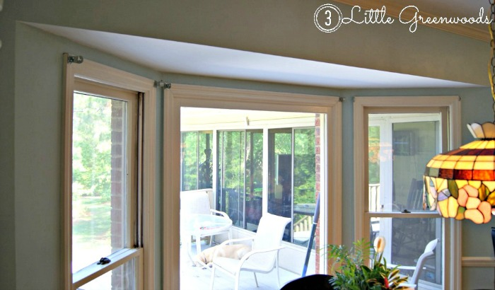 How to make DIY Bay Window Curtain Rods for your home using three easy to find items from your local home improvement store!