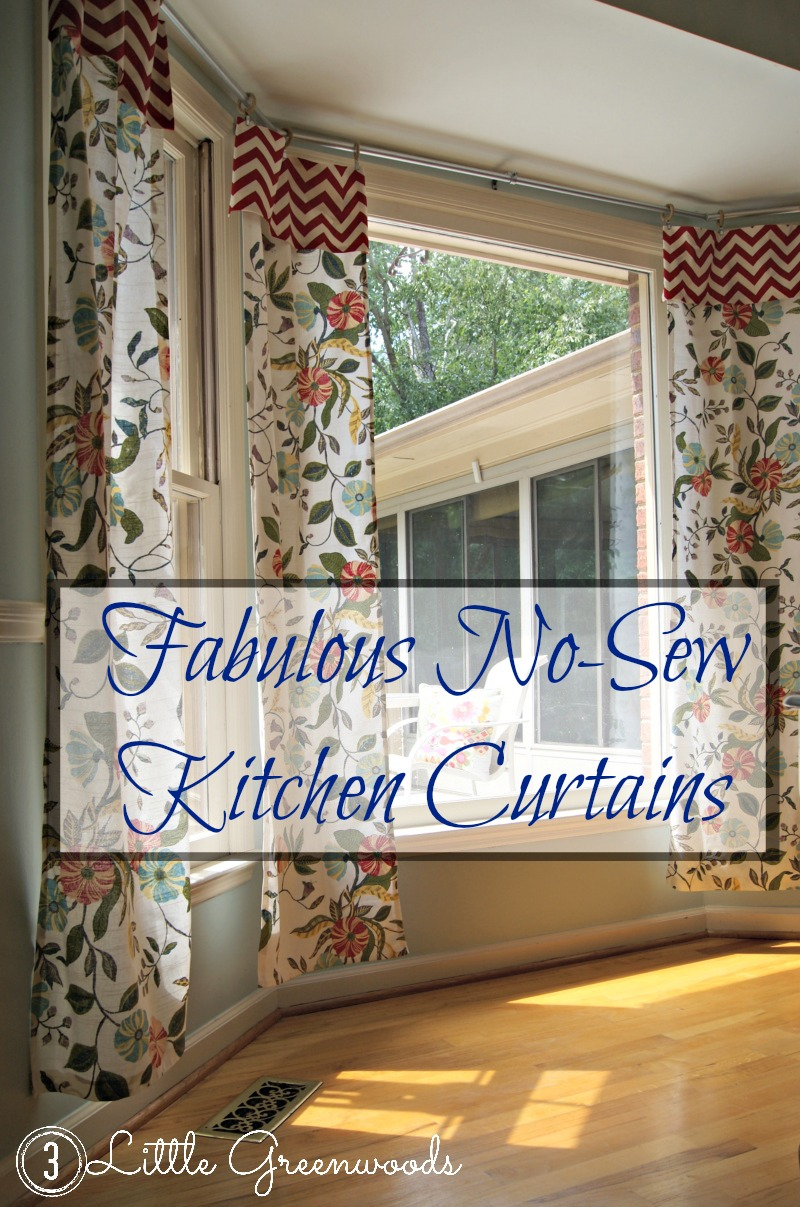 Fabulous No-Sew Kitchen Curtains - Easy DIY Tutorial https://www.3littlegreenwoods.com