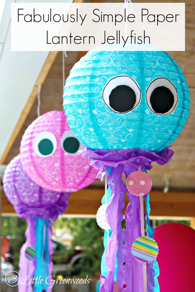Super simple DIY paper lantern project. How to make Paper Lantern Jellyfish