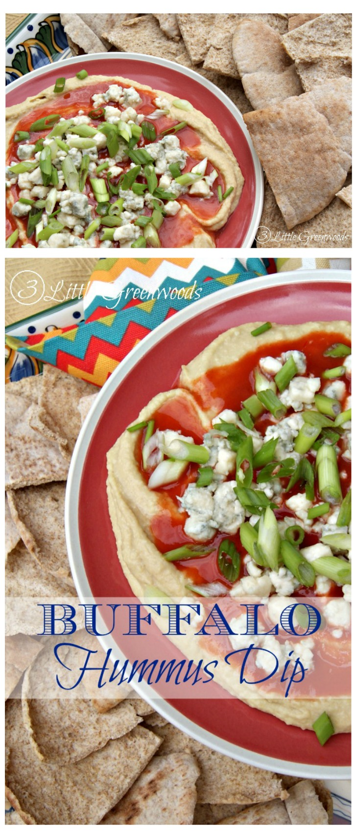 Amazing Buffalo Hummus Recipe is the perfect easy appetizer for the Big Game Day Parties!