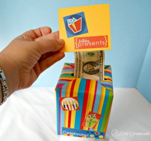Make this SUPER SIMPLE Last Minute DIY Birthday Gift: Fun Money Gift Box by 3 Little Greenwoods
