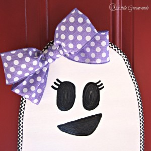 Searching for how to make cheap Halloween door decorations? Decorate with this sweet, easy to make DIY Ghost Girl! Perfect as Halloween Door Decor! from 3 Little GreenwoodsSearching for how to make cheap Halloween door decorations? Decorate with this sweet, easy to make DIY Ghost Girl! Perfect as Halloween Door Decor! from 3 Little Greenwoods