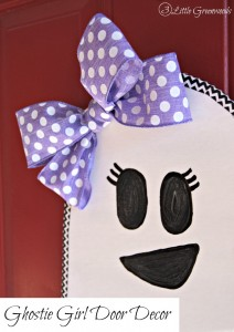 Searching for how to make cheap Halloween door decorations? Decorate with this sweet, easy to make DIY Ghost Girl! Perfect as Halloween Door Decor! from 3 Little Greenwoods