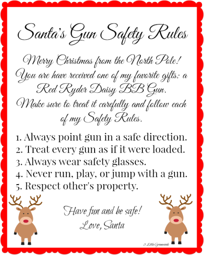 Santa's Gun Safety Rules by 3 Little Greenwoods