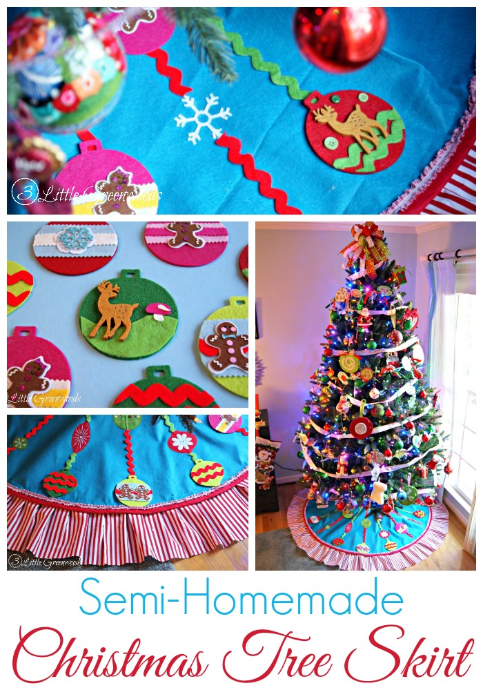 Adorable and easy to make! Semi-Homemade Christmas Tree Skirt from Craft Store Supplies https://www.3littlegreenwoods.com