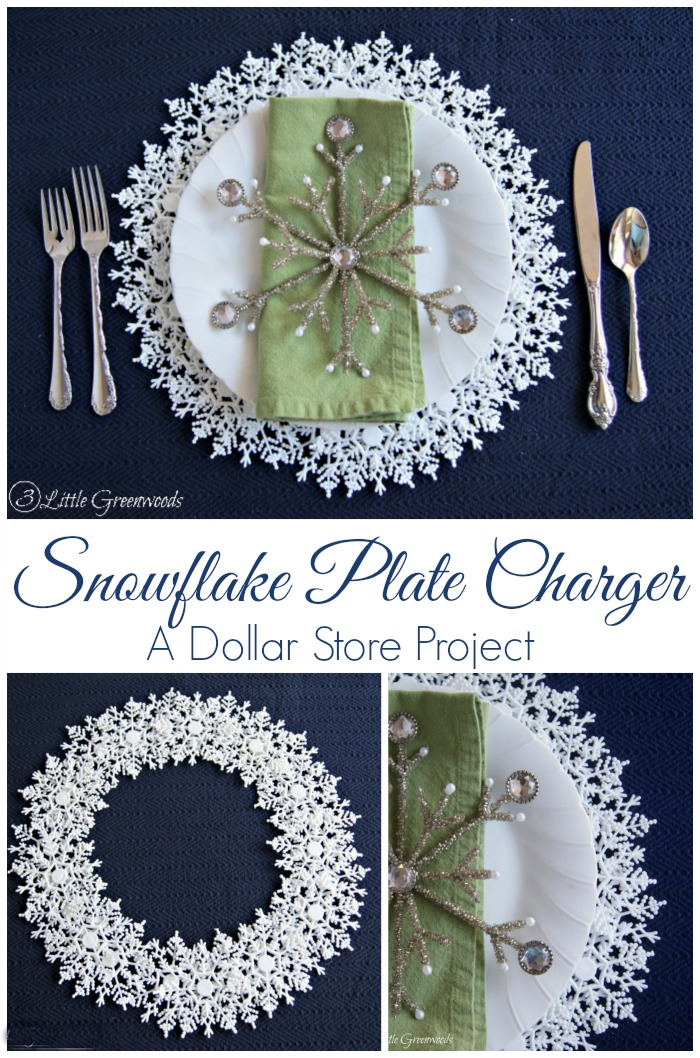 Snowflake Plate Charger {A Dollar Store Project} Add a little sparkle to your holiday table with this simple DIY project! https://www.3littlegreenwoods.com/