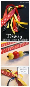Show your Disney spirit with a DIY Disney Keychain with a Ribbon Tassel! It's a perfect craft for gift giving and for a Disney stocking stuffer!