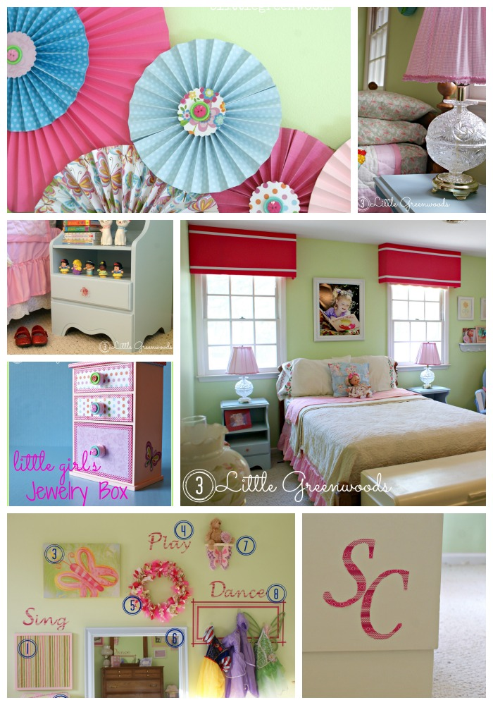 DIY and craft your way to an Adorable Little Girl's Bedroom https://www.3littlegreenwoods.com
