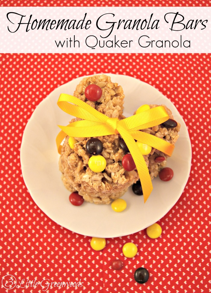 Homemade Granola Bars with Quaker Granola https://www.3littlegreenwoods.com