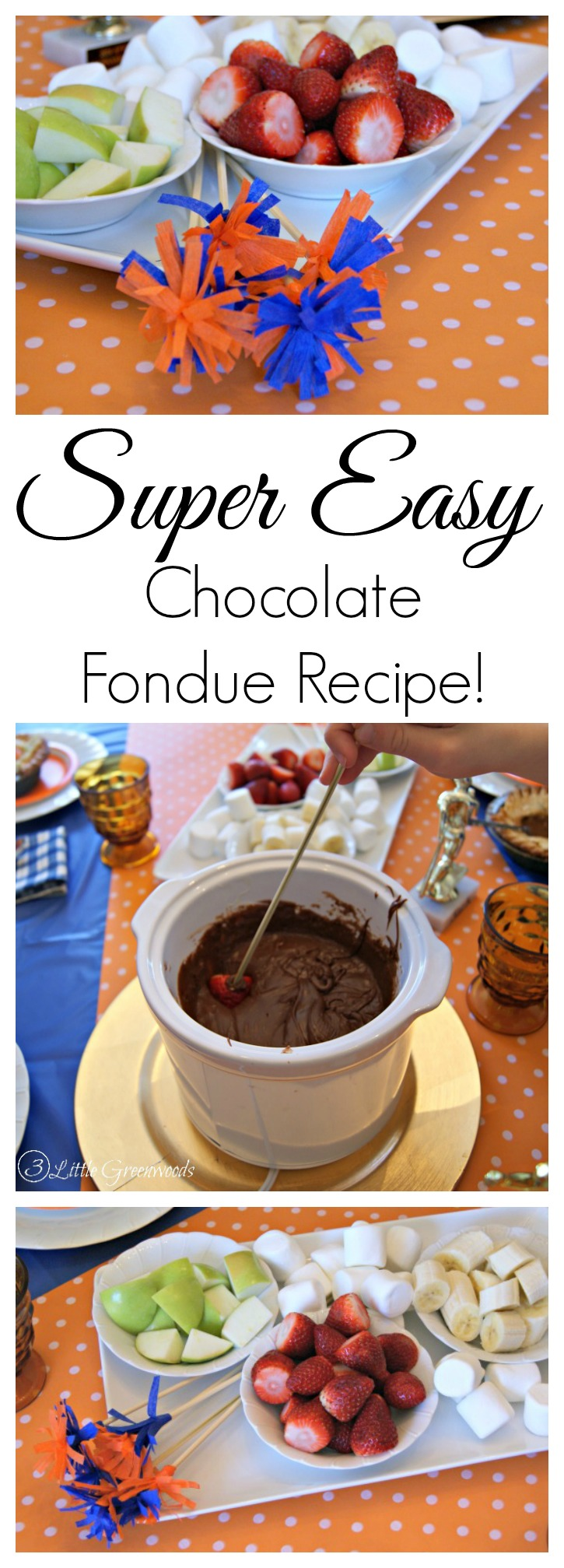AMAZING two ingredient recipe for Chocolate Fondue! Love this Chocolate Fondue Recipe for our party planning! // 3 Little Greenwoods