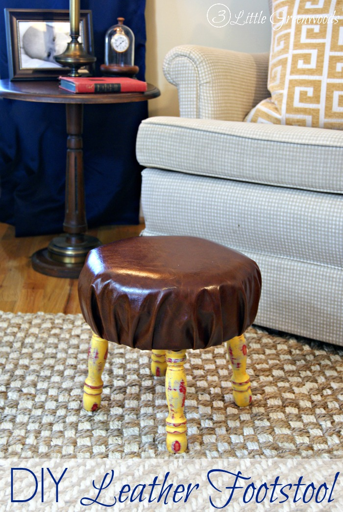 DIY Leather Footstool {Home Office Furniture} Tutorial for making a DIY Leather Footstool https://www.3littlegreenwoods.com