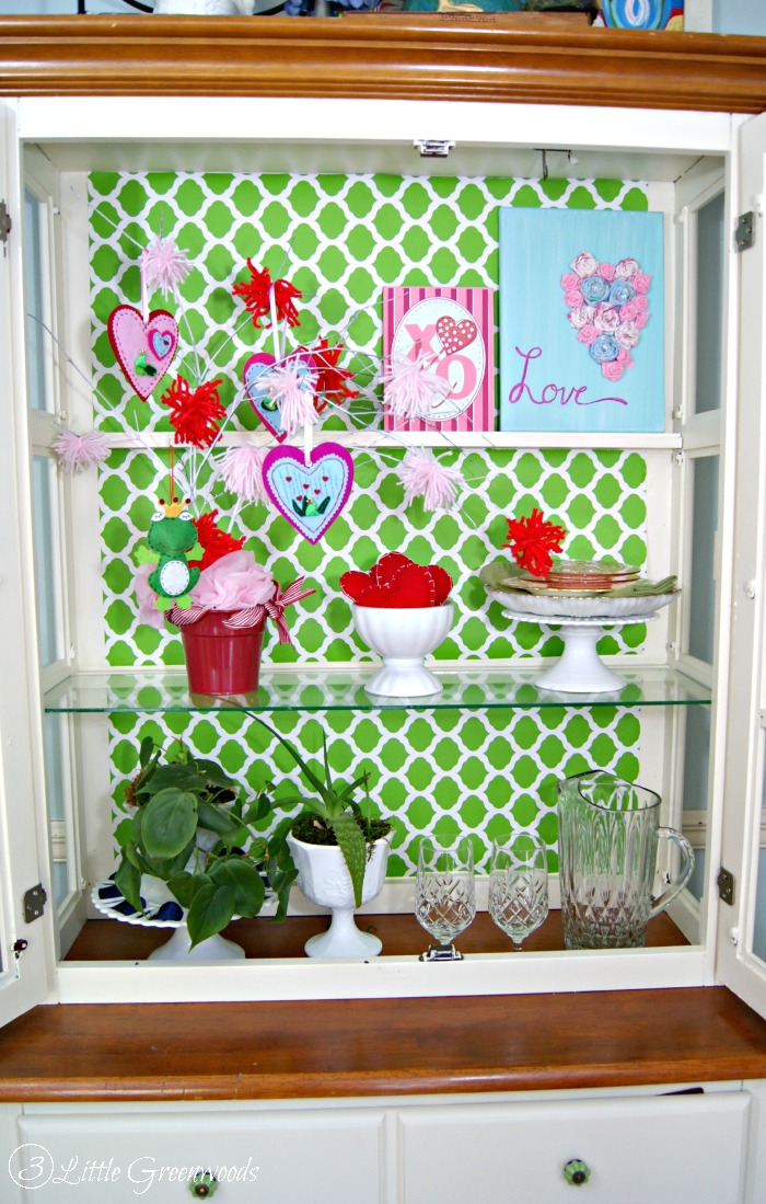Tips and DIY Home Decor Projects for Styling a Kitchen Hutch for Valentine's Day