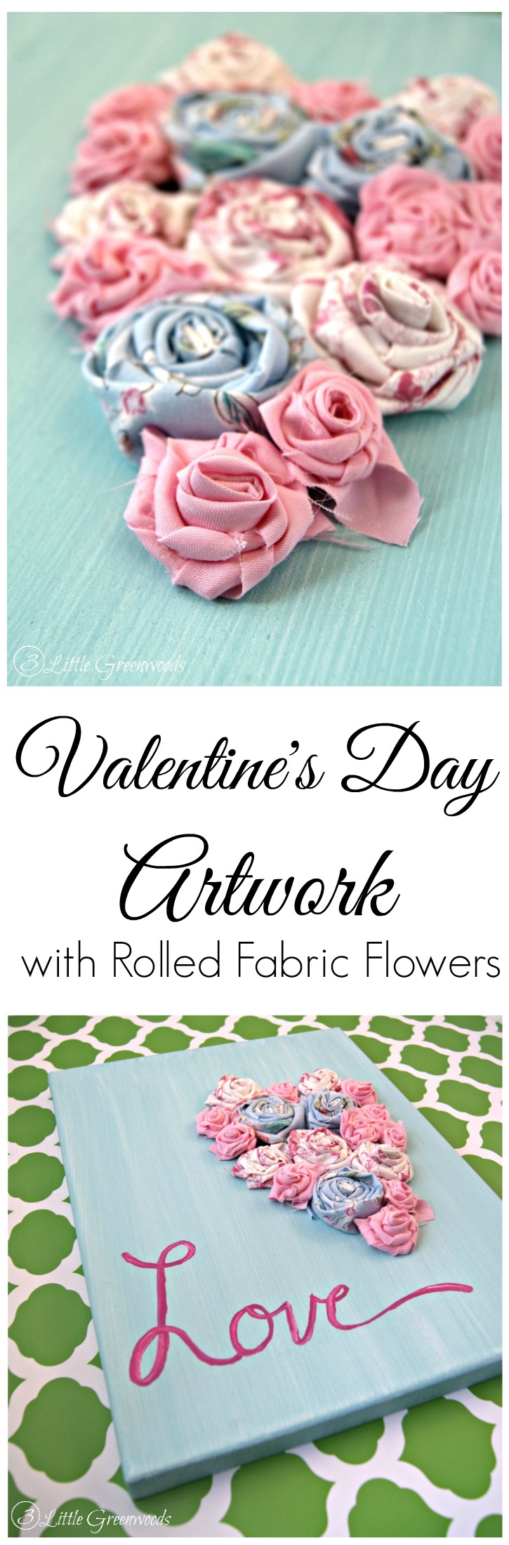 Bust your scrap fabric stash with this Adorable Rolled Fabric Flowers Artwork for Valentine's Day {Plus more Valentine's Day Crafts} // 3 Little Greenwoods