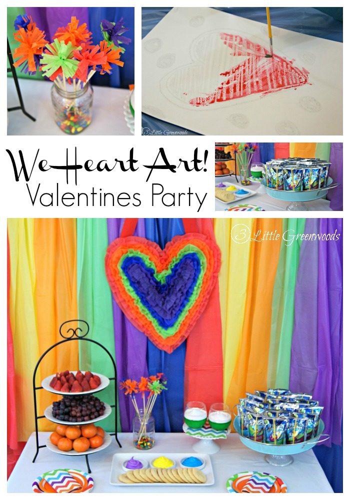 """We Heart Art"" Valentines Party: A fun, simple party plan with DIY party decor, easy snacks, and all ages art project! https://www.3littlegreenwoods.com"