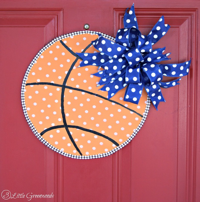 Celebrate your love of Basketball with a DIY Basketball Door Decor! Super easy tutorial to create your own! https://www.3littlegreenwoods.com