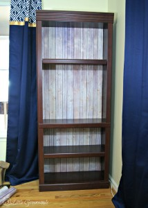 "Look of real wood but the ease of paper! Faux ""Vintage Wood"" Backed Bookcase {Easy DIY Decor} https://www.3littlegreenwoods.com"