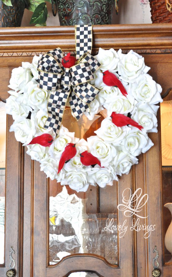 red bird valentine wreath