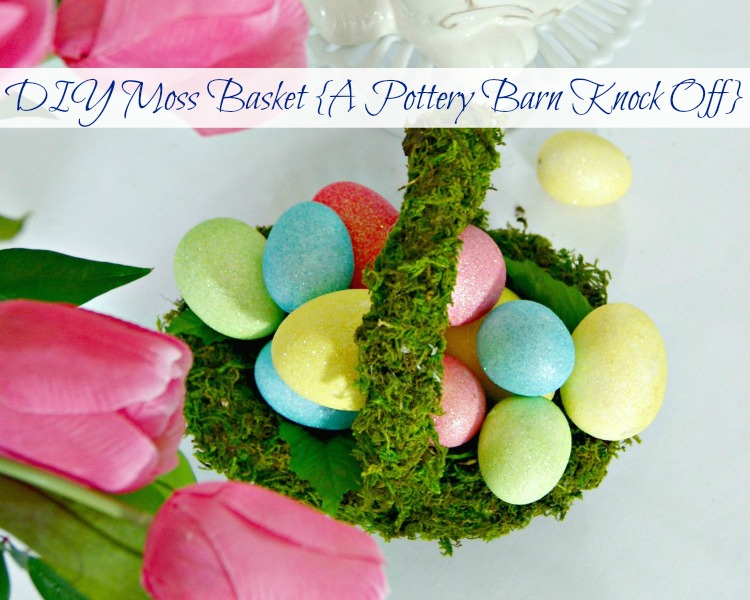 Moss Covered Basket ~ Simple DIY Easter Basket! Perfect for an Easter Tablescape! https://www.3littlegreenwoods.com