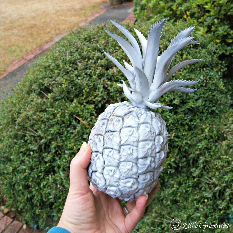 DIY Brass Pineapple! Turn a thrift store find into a symbol of southern hospitality! https://www.3littlegreenwoods.com
