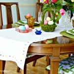 FABULOUS tutorial for DIY No Sew Table Runner! Add this inexpensive Table Runner to your Easter Home Decor! by 3 Little Greenwoods