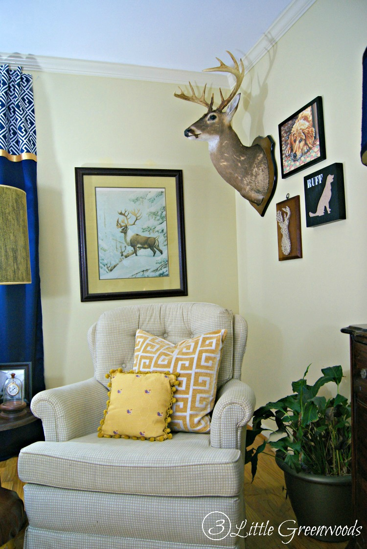 A Southern Gentleman's Home Office: Transform your space with tons of DIY home office decorating ideas, no-sew curtains, and thrift store finds.