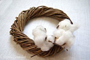 DIY Cotton Wreath with Cotton Branches by 3 Little Greenwoods