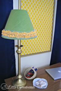 INSTANT Lamp Shade Update! You won't believe what thrift store item was used to transform this plain jane lamp shade! DIY Lamp Shade with a Sweater by 3 Little Greenwoods #DIYLampShade #ThirftyHomeDecor #LampUpcycle