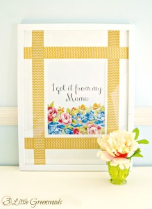 Simplest DIY Picture Frame Mat Update Ever! Just add ribbon to make this customizable DIY Picture Frame Mat by 3 Little Greenwoods #DIY #DIYFrame