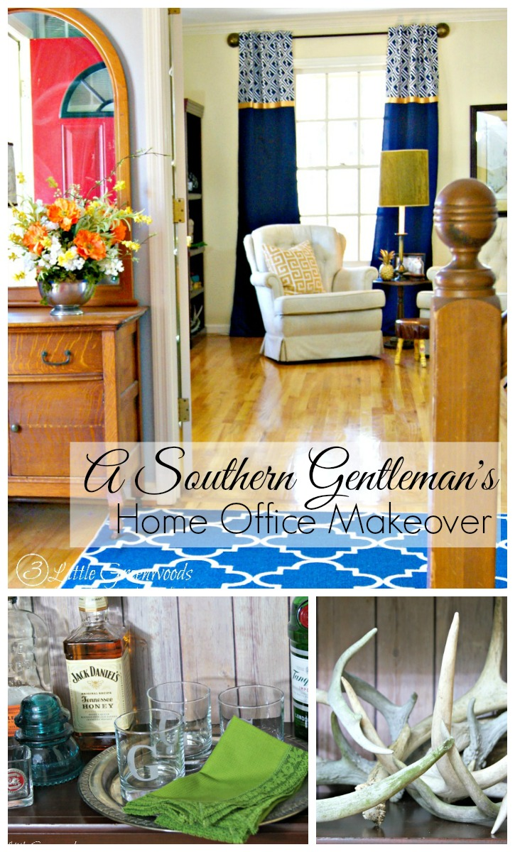 Fabulous Southern Gentleman's Home Office Makeover! Home Office Decorating Ideas on a Budget by 3 Little Greenwoods