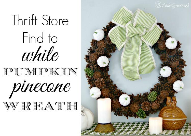 White Pumpkin Pinecone Wreath by 3 Little Greenwoods