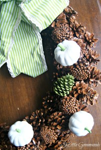 PERFECT for Fall ~ White Pumpkin Pinecone Wreath! How to make a Fall Wreath with a thrift store find and Dollar Store pumpkins by 3 Little Greenwoods
