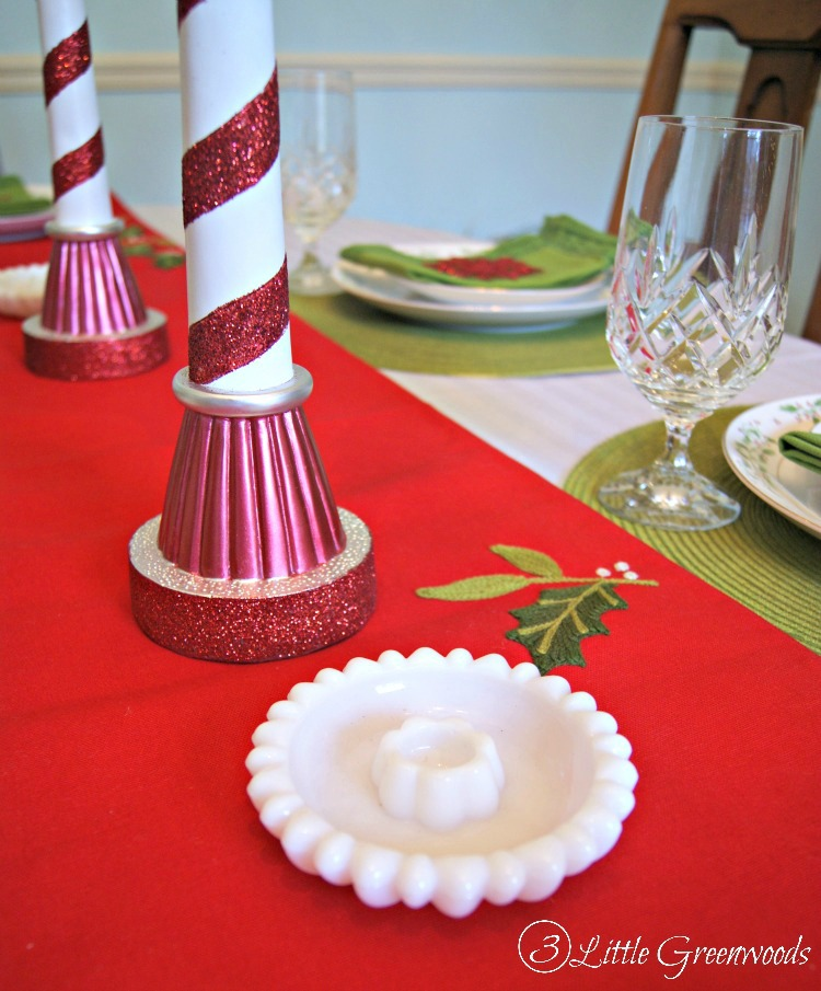 Holiday Thrift Store Swap ~ Christmas Decor with Milk Glass Candlesticks // 3 Little Greenwoods