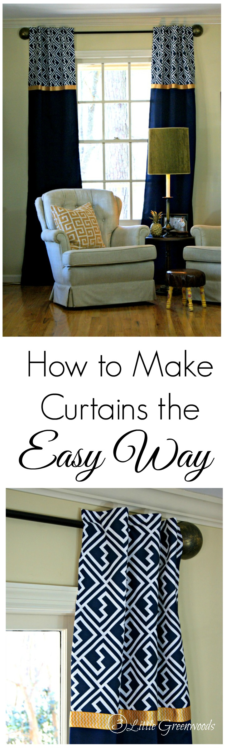 Learn how to make curtains ~ The Easy No-Sew Way! Check out this simple tutorial! Following this simple tutorial to make curtains that are totally customizable to your home decor! 3 Little Greenwoods