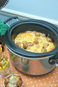 Fabulous Low Carb Recipe for Meatball Pizza Bake! Perfect crock pot recipe for a busy weeknight dinner or a great appetizer!