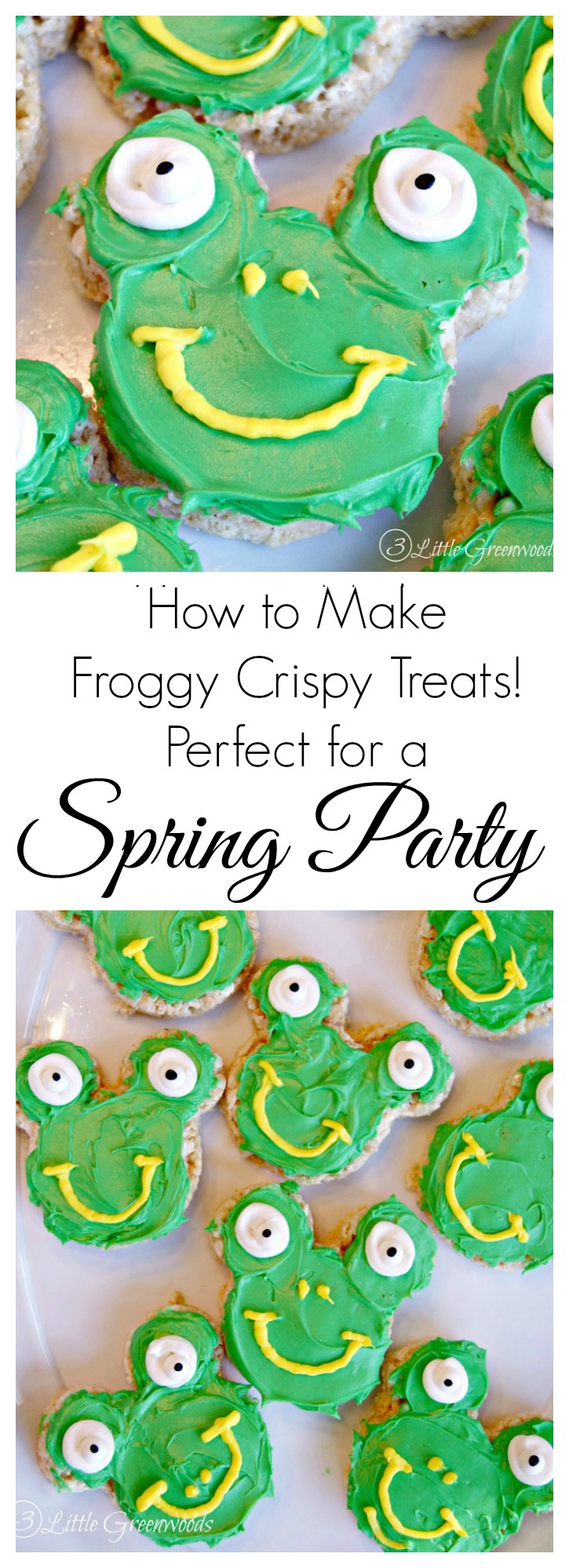 These Froggy Shaped Crispy Treats are a cute and super easy Easter treat idea. They are simple to make, and are perfect for your next nature or frog themed birthday party, Earth Day or spring celebration!