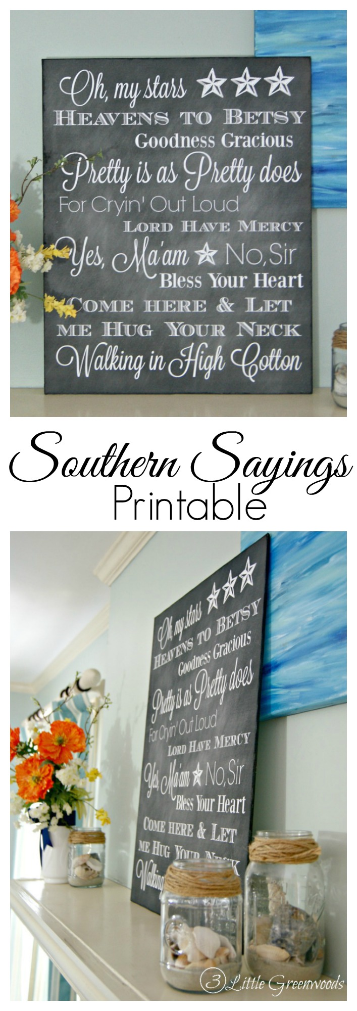 FREE chalkboard printable of Southern expressions! Southern Sayings Printable that's full of traditional Southern quotes ~ perfect for a gallery wall! 3 Little Greenwoods