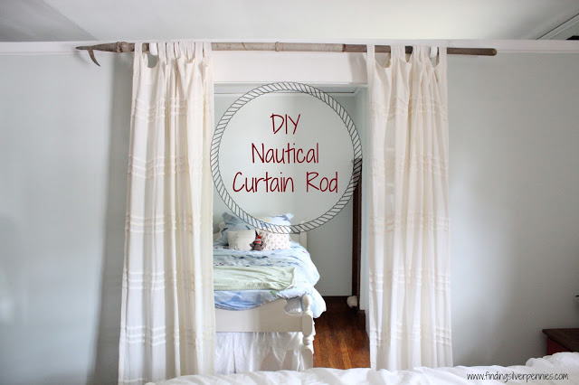 DIY Nautical Curtain Rod from Finding Silver Pennies