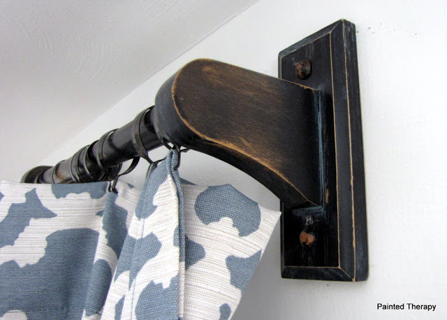 Towel Rod Curtain Rod Idea from Painted Therapy